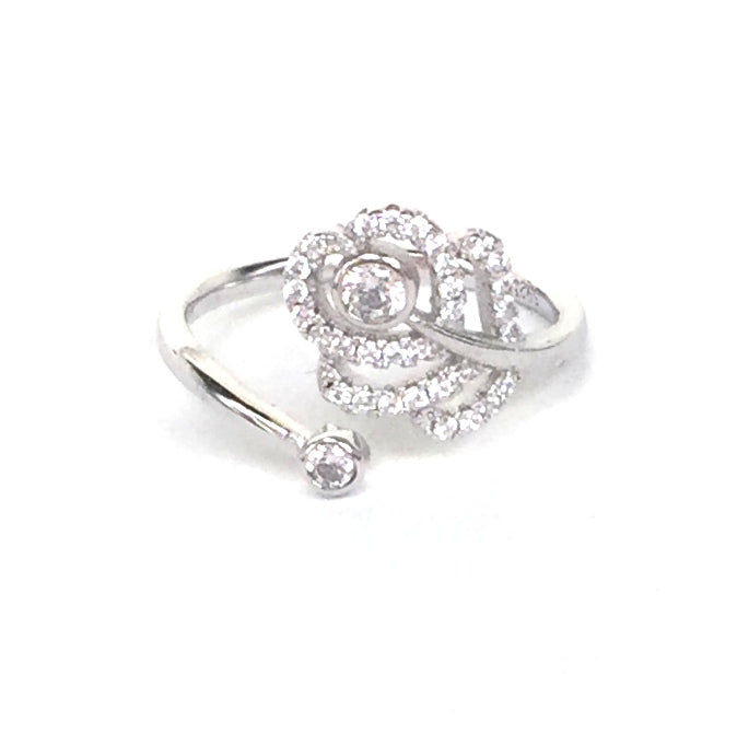ROSE FLOWER AND MINI STONE PAVE CZ STERLING SILVER RING