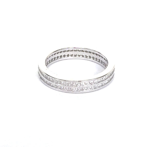 ELEGANT BAND PAVE CZ STERLING SILVER RING