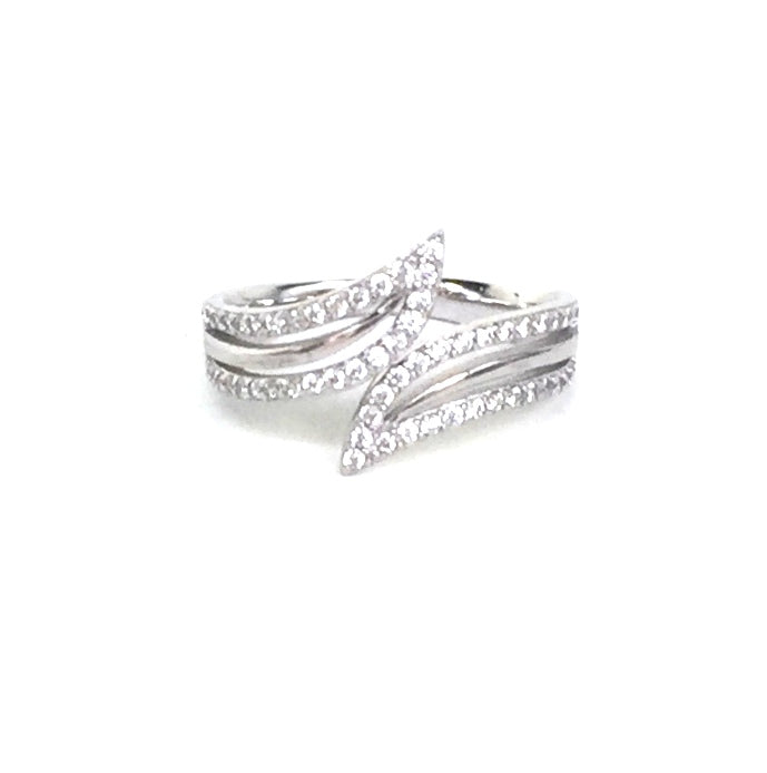 SHARP STYLE PAVE CZ STERLING SILVER RING
