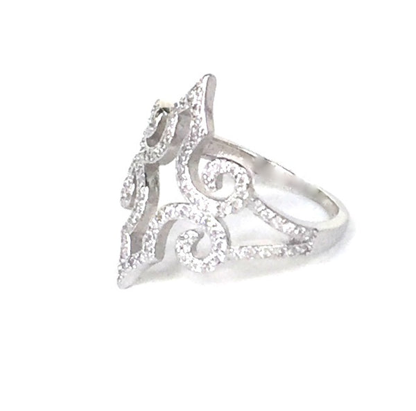 SYMMETRY PAVE CZ STERLING SILVER RING