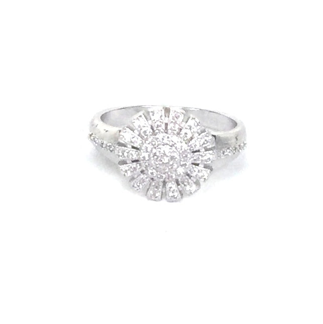 SUNFLOWER PAVE CZ STERLING SILVER RING