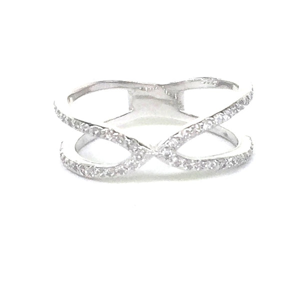 NARROW X II PAVE CZ STERLING SILVER RING