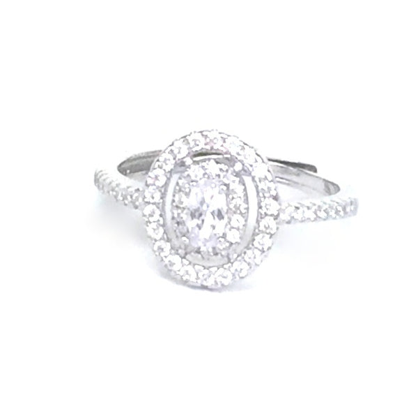 ADJUSTABLE CLASSIC OVAL PAVE CZ STERLING SILVER RING