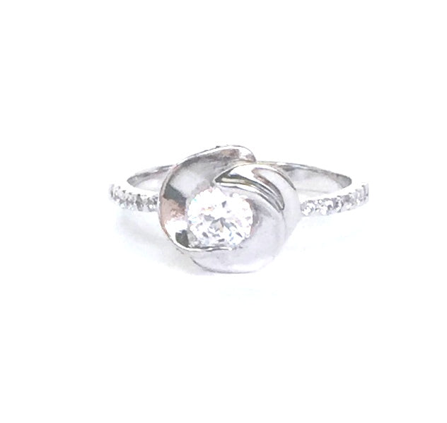 FLOWER CLEAR STONE PAVE CZ STERLING SILVER RING