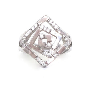 GEOMETRIC SHAPE PAVE CZ STERLING SILVER RING