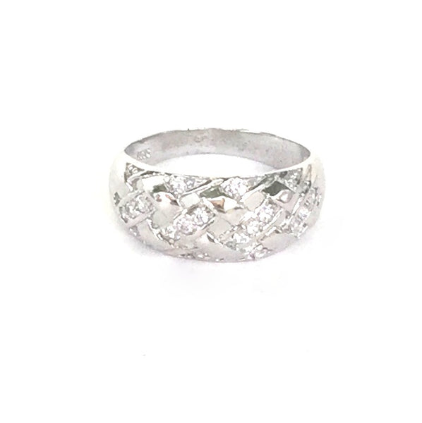 NET BAND PAVE CZ STERLING SILVER RING