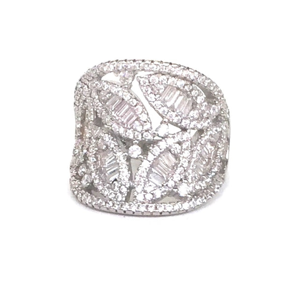 WIDE LEAVES BAND PAVE CZ STERLING SILVER RING