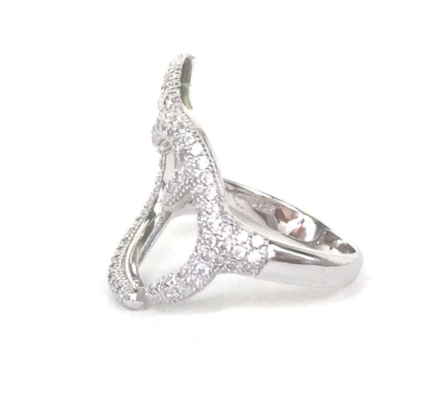 BRANCHES PAVE CZ STERLING SILVER RING