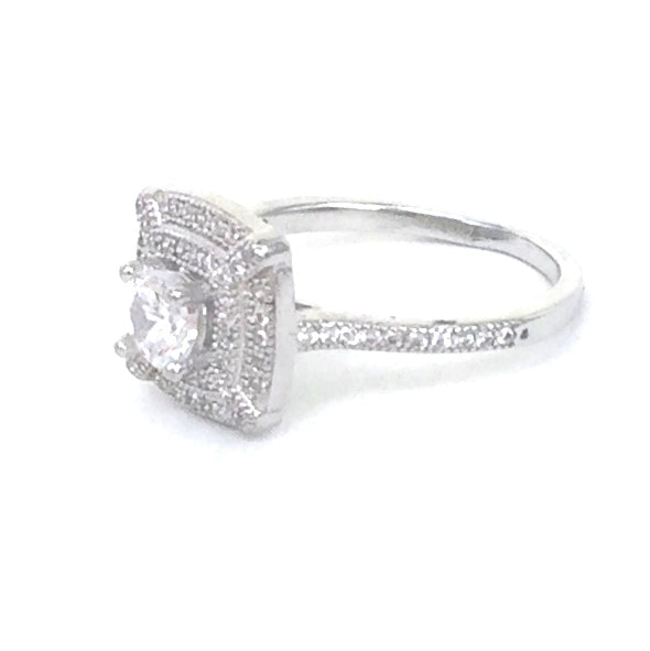 CUSHION HALO PAVE CZ STERLING SILVER RING