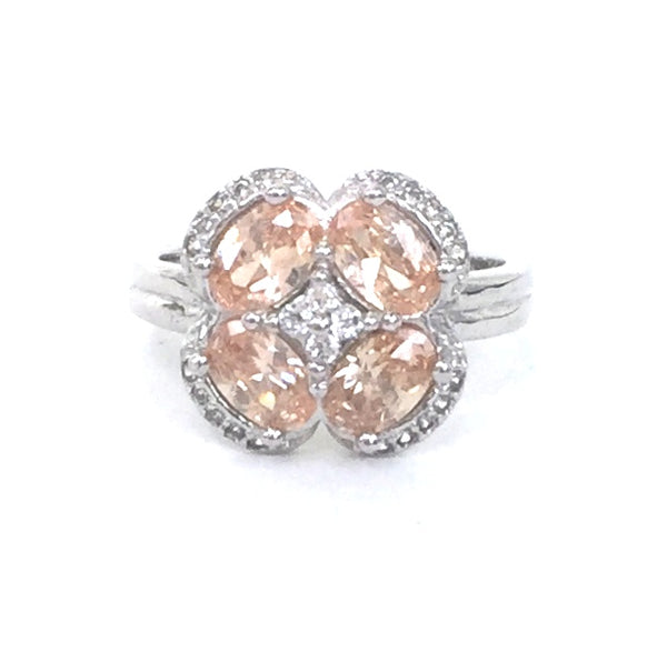 FOUR PETAL FLORAL PAVE CZ STERLING SILVER RING