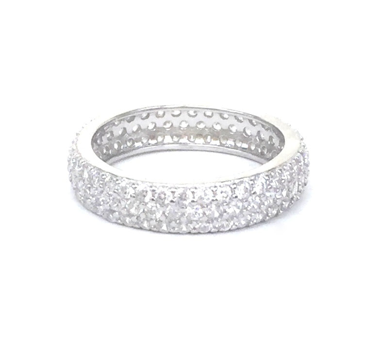 SPARKLING BAND 4MM PAVE CZ STERLING SILVER RING