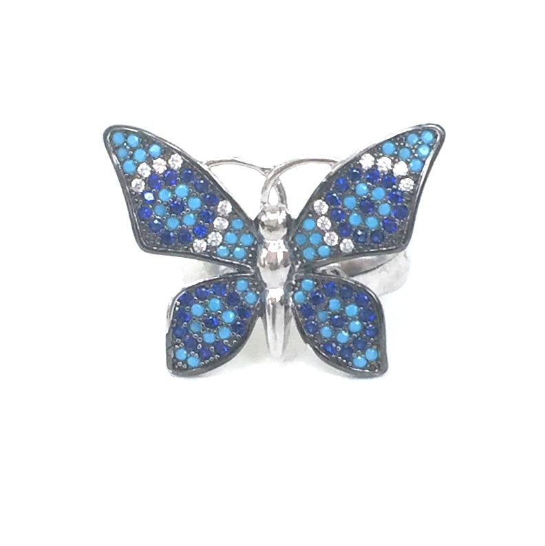 BIG BUTTERFLY PAVE CZ STERLING SILVER RING
