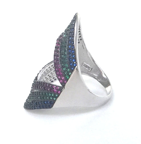 THREE COLOR GEOMETRIC SHAPE PAVE CZ STERLING SILVER RING