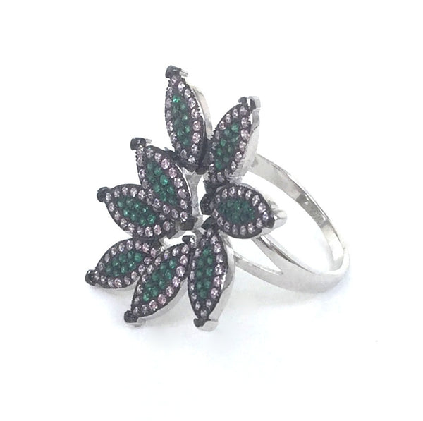 COLOR LEAVES PAVE CZ STERLING SILVER RING
