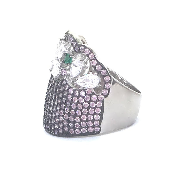 DECORATED WIDE COLOR BAND PAVE CZ STERLING SILVER RING