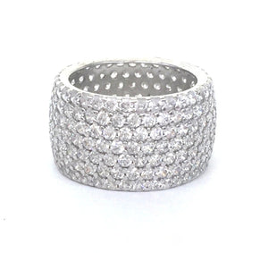 WIDE BAND 12MM PAVE CZ STERLING SILVER RING