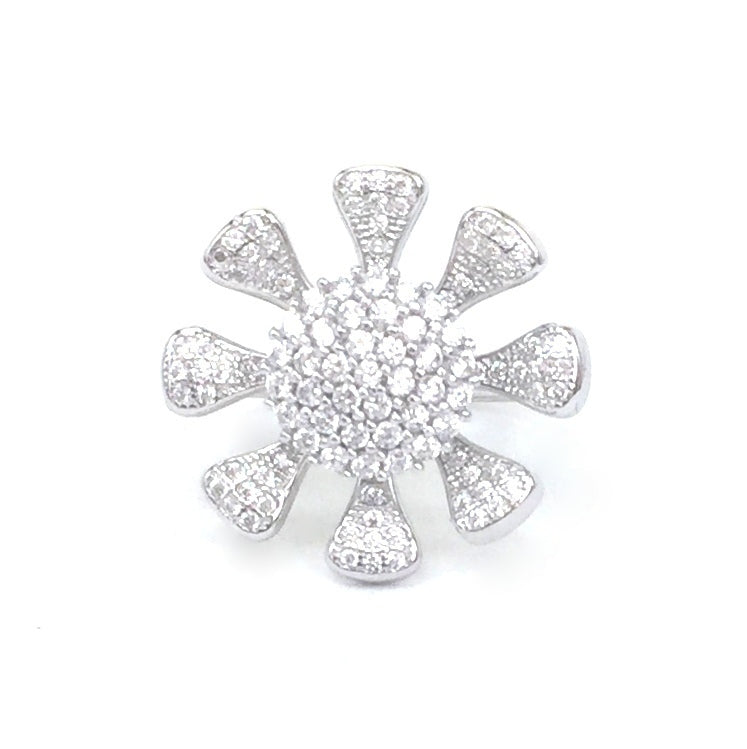 FLOWER SPINNING PAVE CZ STERLING SILVER RING