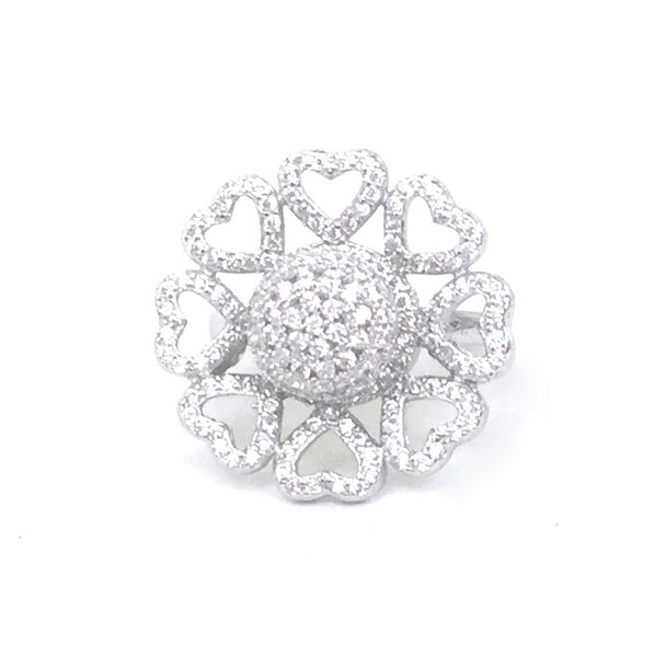 HEART WREATH SPINNING PAVE CZ STERLING SILVER RING