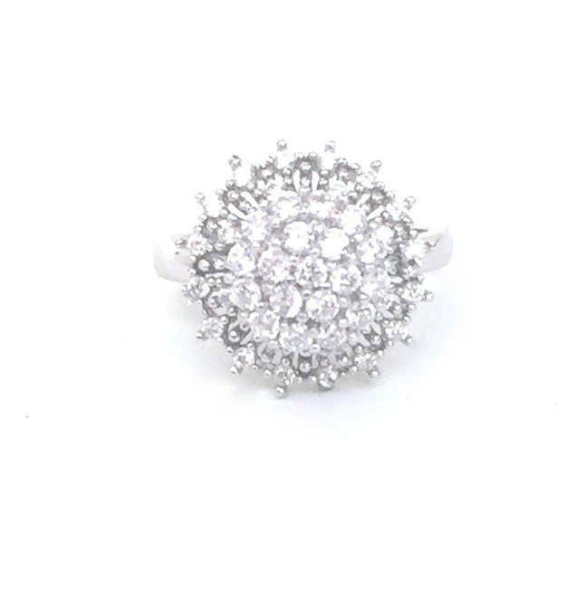 TWO LAYER ROUND SPINNING PAVE CZ STERLING SILVER RING