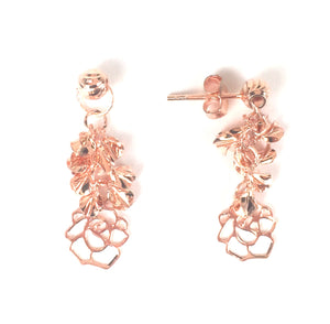 ROSE GOLD DANGLING ROSE STERLING SILVER EARRINGS