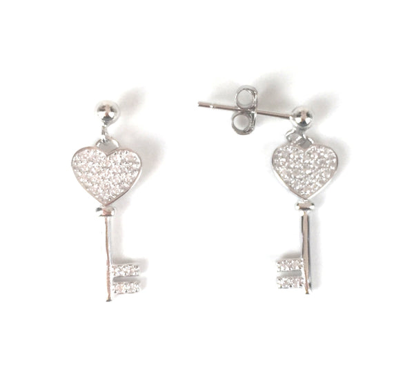 HEART KEY PAVE CZ STERLING SILVER EARRINGS
