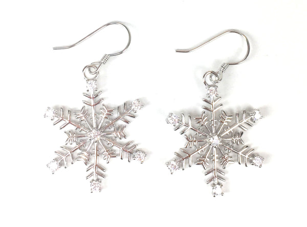 SNOWFLAKE CLEAR CZ STERLING SILVER EARRINGS