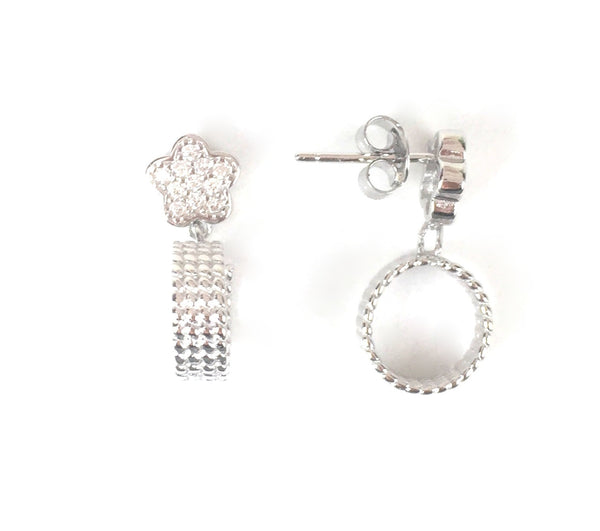 FLOWER AND HOOP PAVE CZ STERLING SILVER EARRINGS