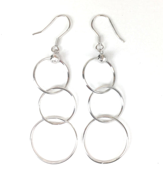 THREE CIRCLE DANGLING STERLING SILVER EARRINGS