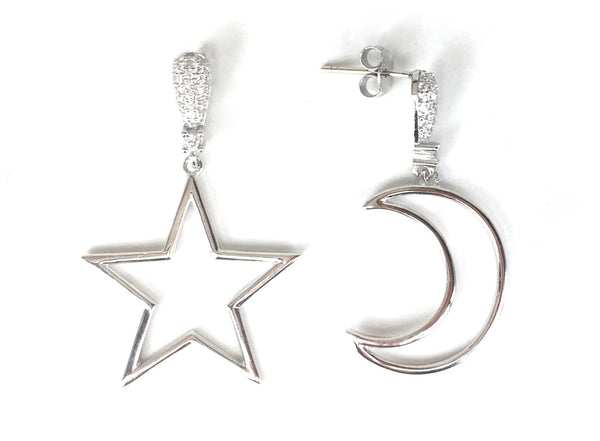 MOON AND STAR PAVE CZ STERLING SILVER EARRINGS