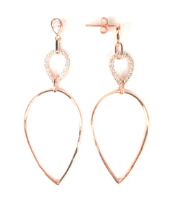 ROSE GOLD PEAR SHAPE PAVE CZ STERLING SILVER EARRINGS