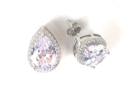 CLASSIC PEAR SHAPE PAVE CZ STERLING SILVER EARRINGS