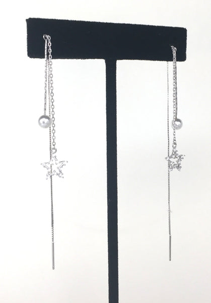 STAR PAVE CZ STERLING SILVER THREADER EARRINGS