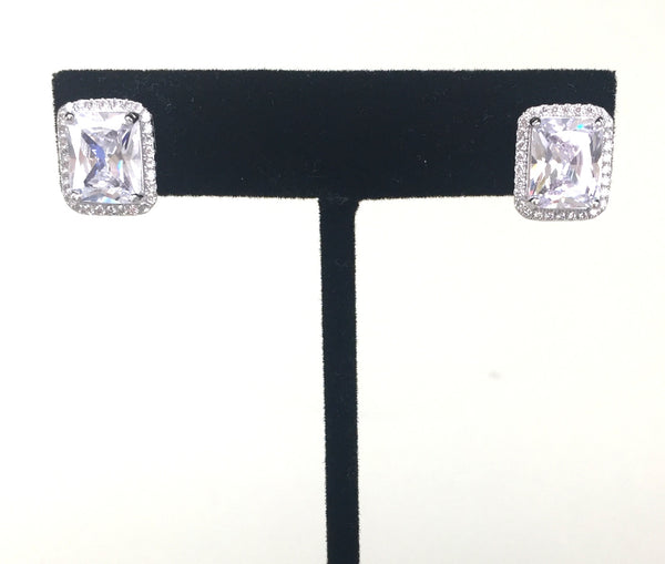 CLASSIC RECTANGLE PAVE CZ STERLING SILVER EARRINGS