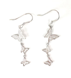 THREE BUTTERFLIES DANGLING PAVE CZ STERLING SILVER EARRINGS
