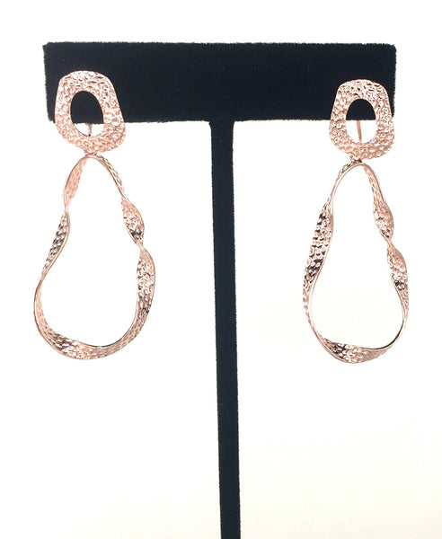 ROSE GOLD CRAFTED TWIST DANGLING STERLING SILVER EARRINGS