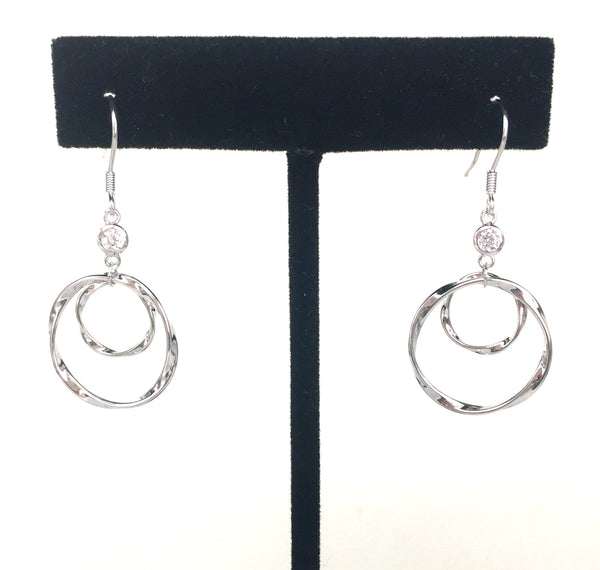 CIRCLE INSIDE CIRCLE CLEAR CZ STERLING SILVER EARRINGS