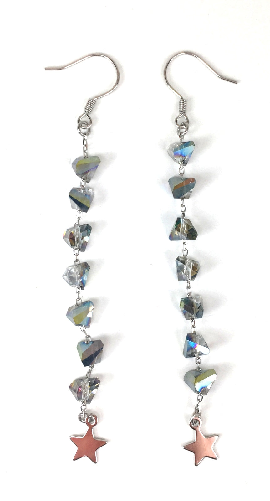 GEOMETRIC CRYSTAL AND STAR DANGLING STERLING SILVER EARRINGS