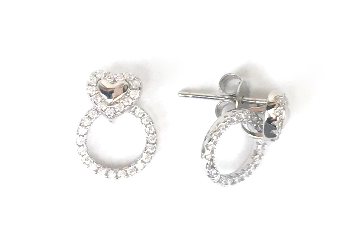 HEART AND CIRCLE PAVE CZ STERLING SILVER EARRINGS