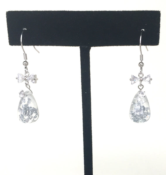 BOW AND WATER DROP CZ STERLING SILVER EARRINGS