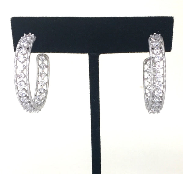 DECORATED HOOP CZ STERLING SILVER EARRINGS