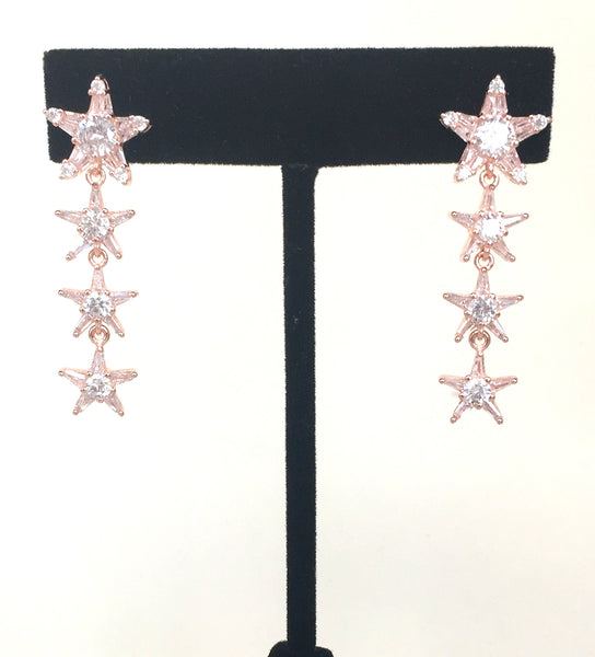 SPARKLING FOUR STARS CZ STERLING SILVER EARRINGS