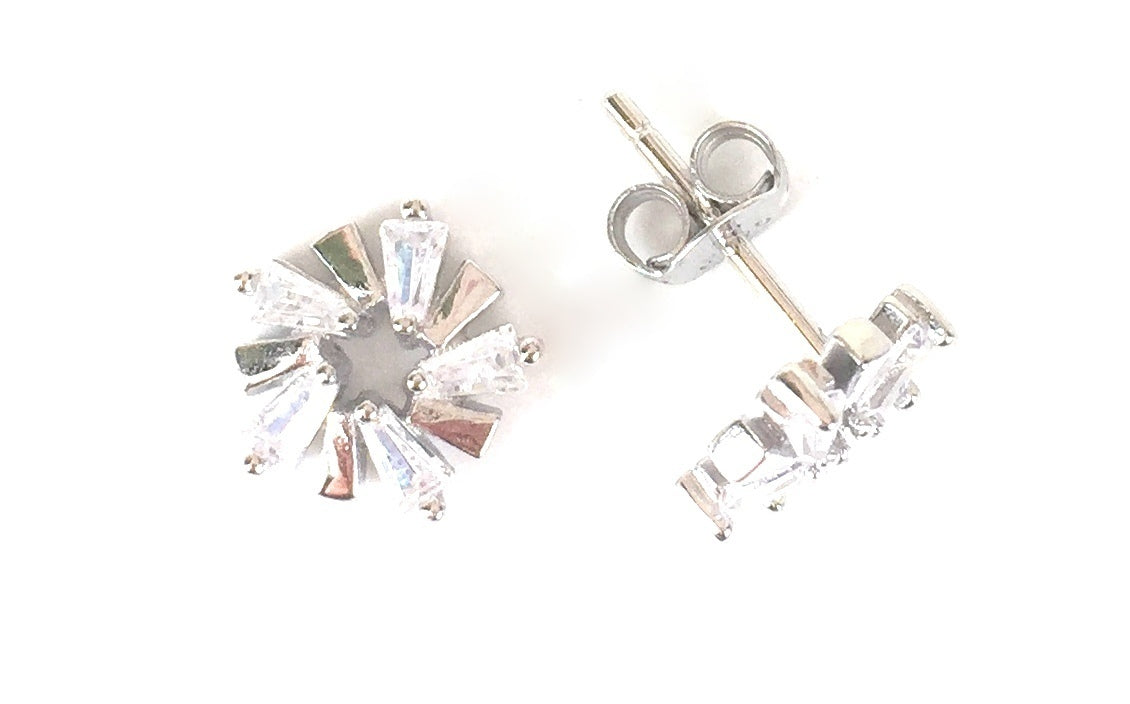 FLOWER STUD CLEAR CZ STERLING SILVER EARRINGS