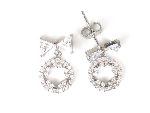 BOW AND STAR IN CIRCLE PAVE CZ STERLING SILVER EARRINGS