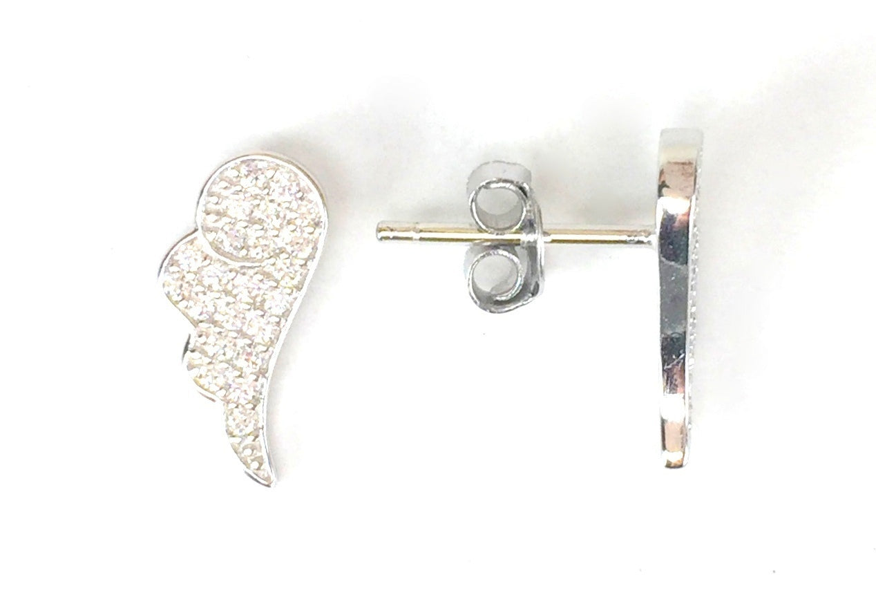 WINGS STUD PAVE CZ STERLING SILVER EARRINGS