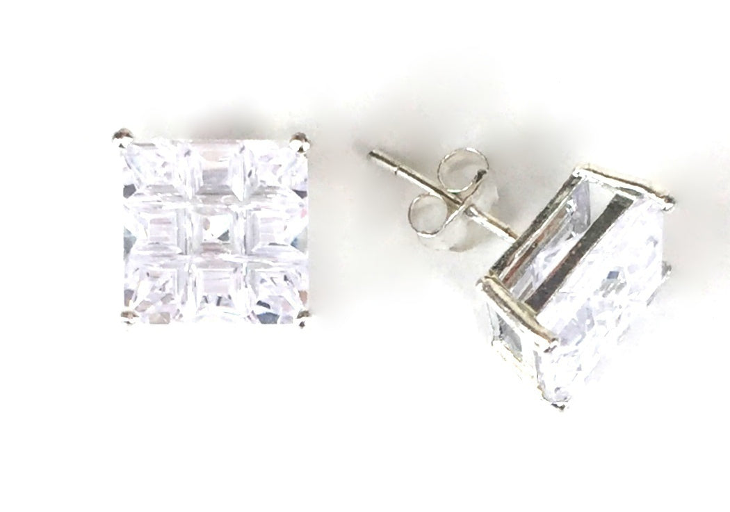 SQUARE STUD CLEAR CZ STERLING SILVER EARRINGS