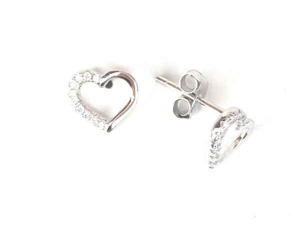 SMALL SIMPLE HEART STUD PAVE CZ STERLING SILVER EARRINGS