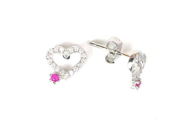 SMALL HEART WITH PETITE STAR STUD PAVE CZ STERLING SILVER EARRINGS