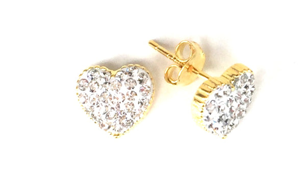 SPARKLING HEART STUD PAVE CZ STERLING SILVER EARRINGS