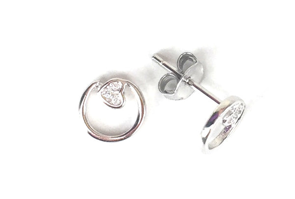 PETITE HEART INSIDE CIRCLE STUD CZ STERLING SILVER EARRINGS