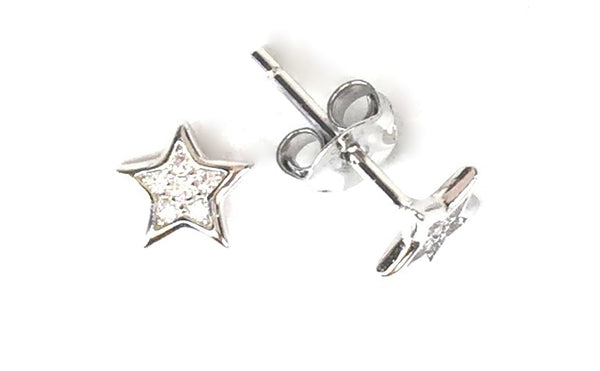PETITE STAR STUD PAVE CZ STERLING SILVER EARRINGS